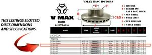 SLOTTED VMAXS fits HONDA Odyssey 2.3L V6 2000-2004 FRONT Disc Brake Rotors