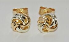 9CT YELLOW & WHITE GOLD CELTIC KNOT LADIES STUD EARRINGS