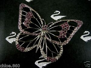 SIGNED SWAROVSKI  AMETHYST PAVE CRYSTAL  BUTTERFLY  PIN ~ BROOCH  NEW WITH TAGS