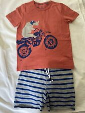 Nwt Mini Boden Striped Shorts Rhino Motorcycle Tee Outfit 7-8y