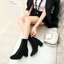 Women Suede Square Toe Zip Mid Calf Riding Boots Block Mid Heels Fashion Shoes