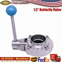 New Silver 1.5 Inch Stainless Steel Pull Handle Butterfly Valve High Quality US