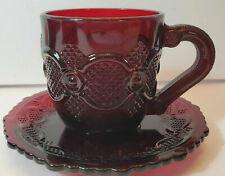New Avon 1876 Cape Cod Ruby Red Cup & Saucer
