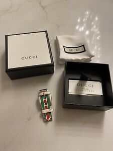 New Authentic GUCCI Sterling Silver Red Green Enamel Money Clip Accessory Gift
