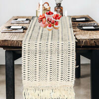 Woven Macrame Table Runner Home Party Decor Fringe Cotton Tablecloth