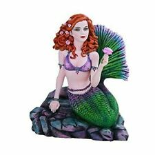 Collectible Mermaid Statue Celtic Stone Figurine Decor Hand Painted & Polished