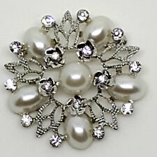 Rhinestone Crystal Silver Faux Pearl Diamante Flower Brooch: Wedding 5.5cm