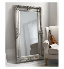 Large Floor mirror ornate style mirror with detailing in a antique silver frame