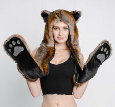 NEW Women Faux Fur Animal Ears Hat Gloves Mittens Long Scarf Snood Hood Paws
