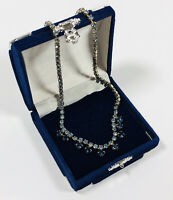 Sparkly Vintage Necklace Silver Tone & Blue Crystal Collar Length Pretty Kitsch