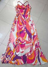 Emilio Pucci AUTH Raceback Elastic Band Waist Side Slit Pink Multi Maxi Dress 40