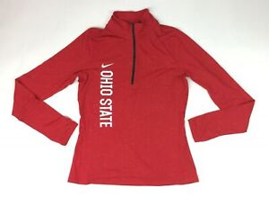 New Nike Women's M Ohio State Buckeyes Long Sleeve Element 1/2 Zip 845783 $70
