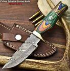 Rare Custom Hand Made Damascus Steel Blade Hunting Knife   HARD WOOD