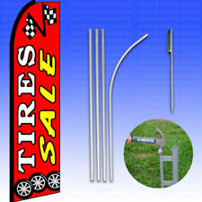 Feather Flag Swooper Advertising Flag Banner Sign 15' Tall Kit - Tire Sale Red