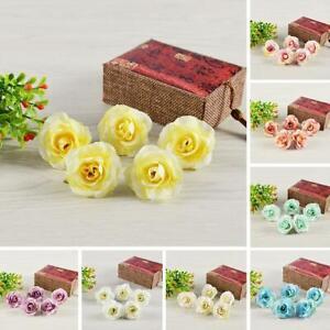 50PCS Artificial Rose Heads Flower Silk Bulk Party Wedding Fake Bouquet Decor UK