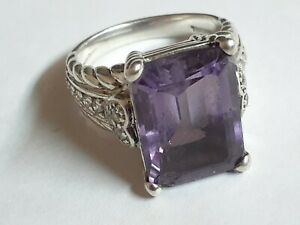 Judith Ripka Purple Amethyst Solitaire Ring Size 8.75 Sterling Silver 925