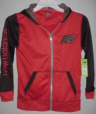 New Balance Zip Front Hoodie Sweatshirt Jacket Black & Red Youth Med 10-12 - $56