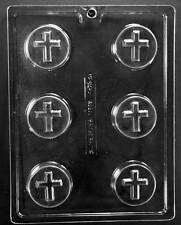 CROSS ON ROUND COOKIE CHOCOLATE CANDY MOLD MOLDS PARTY FAVORS COMMUNION