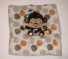 Taggies Monkey Beown Orange Swirl Baby Blanket U3