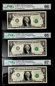 3 SUPERB GEM CONSECUTIVE 1988A $1 FRN SOLVENT SMEAR ERROR-PMG66/ #67EPQ rare