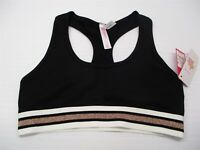 new XHILARATION Women's Size S Unlined Black/Rose Gold Rib Racerback Bralette