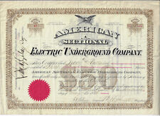 NEW JERSEY 1882 American Sectional Electric Underground Co Stock Certificate #17