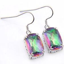 Awesome Rectangle Rainbow Mystic Topaz Gems Silver Dangle Hook Earrings