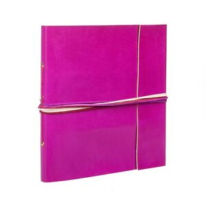 """Coloured Leather Photo Album, Cerise, 30 Pages to fit 120 6x4"""" or 60 7x5"""" Photos"""