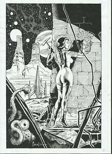SPACE GIRL 2 BY JOE PIMENTEL - ART PINUP Drawing Original