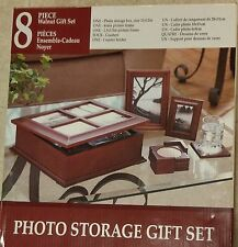 WALNUT 8-PIECE PHOTO STORAGE GIFT SET - Storage Box, 2 Frames & Coaster Set