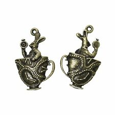 2 x 3d Rabbit Antique Bronze Cup Charms Pendant Alice