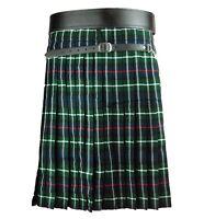 Scottish Mackenzie Tartan Pleated to White Stripes Highland Traditional New Kilt
