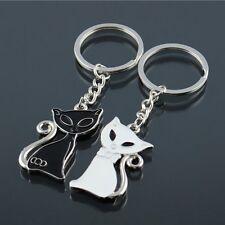 1 pair Enamel Cat White Black Couple Women's Fashion Keychain Ring Metal Keyring