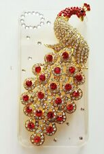 Apple iPhone 4 4s Cover Bling Rhinestone Peacock Indian Sparkly Case Mobile Hard