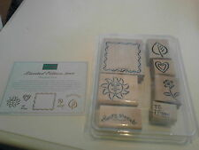 Limited Ed. Stampin Up Framed Fun Stamp Set sun thanks flowers heart border 2000