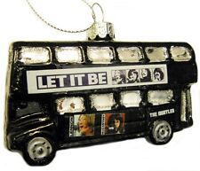 BEATLES LONDON BUS LET IT BE GLASS CHRISTMAS ORNAMENT MINT IN DISPLAY BOX!
