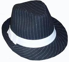 anni '20 Uomo Lusso Gangster Trilby Cappello anni '20 Costume Nero/Bianco NUOVO