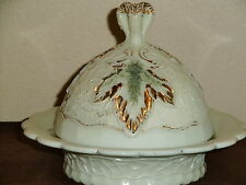 Northwood Victorian Custard Glass Maple Leaf Covered Butter Dish