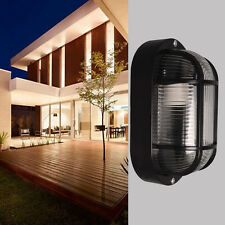 Ip54 Oval Black Bunker Bulkhead Wall Light Cage Outdoor Exterior LED / CFL Lamp