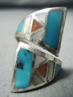 RARE ADJUSTABLE VINTAGE ZUNI TURQUOISE CORAL STERLING SILVER RING