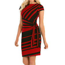 Women Short Sleeve Bodycon Mini Dress Office Striped Pencil Formal Party Dresses