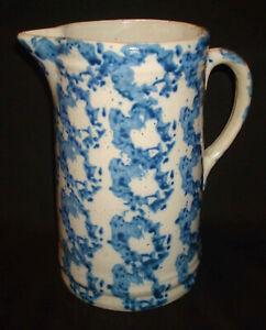 "Antique Blue & White Spongeware Stoneware Pottery Primitive 9"" Tall Pitcher Jug"