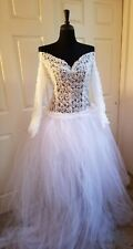 DROP WAIST 2 PIECE WHITE LACE ROMPER & TULLE BRIDAL WEDDING BALL GOWN SKIRT SET