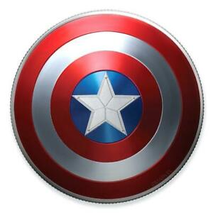 2019 Fiji $ 1 Marvel Captain America Shield 999 Fein Silbermünze 10g