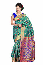 Vardhaman Goodwill RamaGreen Banarsi silk  Golden Zari border Saree with Blouse