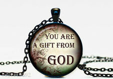 are a gift from God Glass Dome Cabochon Black Chain Necklace Pendant (WC116)