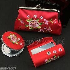 pretty red Embroidery Rose Red Cosmetic Mirror&Lipstick&Box&Purse Gift Set