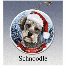 Schnoodle Howliday Porcelain China Dog Christmas Ornament