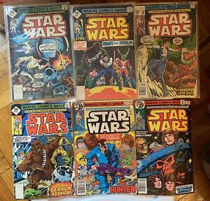 STAR WARS COMIC BOOK LOT #5, 8, 10, 13, 16, 19, 78 MARVEL COMICS VG