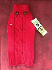 Unisex Puppy Dog Red Cable Knitted Sweater Aron Jumper Coat Buttons - Size XXS